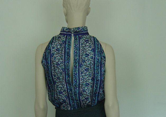 """Ärmellose Blusen - Top """"Bali"""" Unikat aus Sari-Seide - ein Designerstück von hofatelier-mode bei DaWanda"""