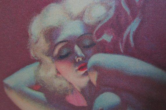 vintage pin up print  Dreaming  Earl Moran  c by DaVincisLoft
