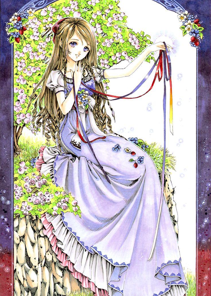 Ribbon princess with long light brown hair, violet eyes, long purple dress, & rainbow ribbons by manga artist Shiitake.
