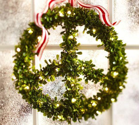 Lit Boxwood Peace Wreath Pottery Barn Christmas