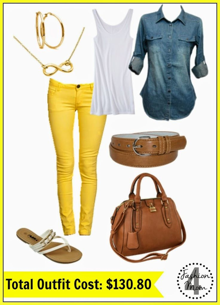 Yellow Skinny Jeans = A Spring Fashion Must! I'm OBSESSED with this site!  She takes Pinterest outfits and finds look alikes that are actually affordable!  LOVE!