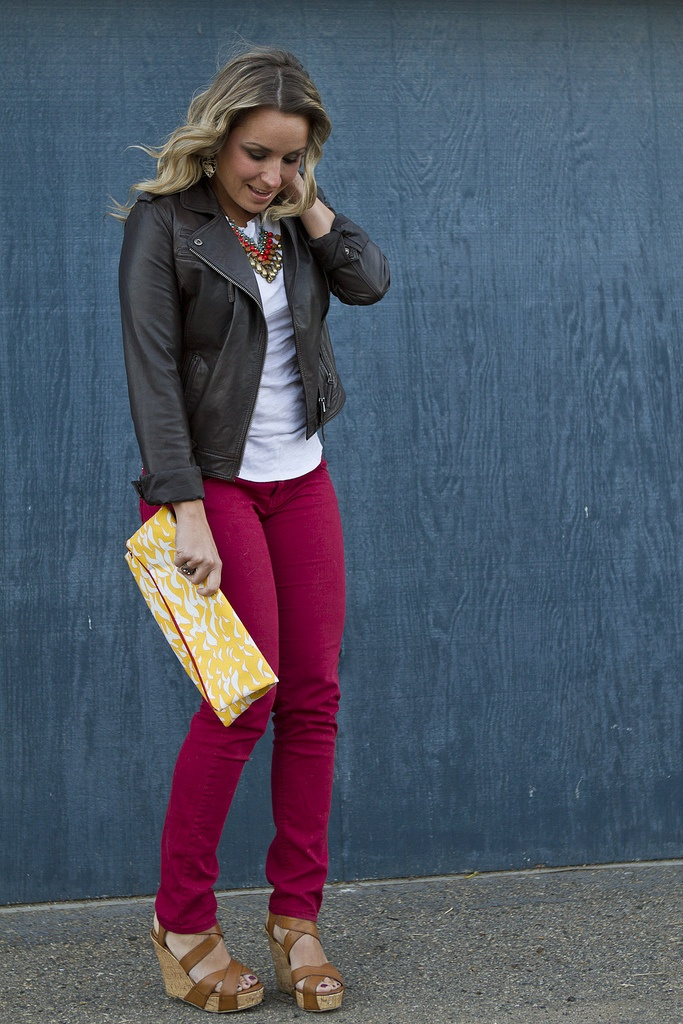 colored jeans and leather jackets :)