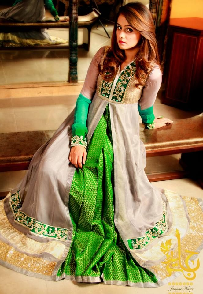 Green and Taupe Layered Anarkali Frock Item code : W13GT01 ONLY ONE LEFT IN STOCK