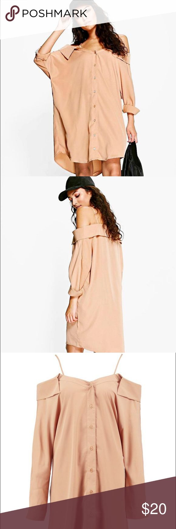 "Cold Shoulder Collar Shirt Dress Super cute tan ""street chic"" dress that was a little too big for me when it came in the mail 🙃 STILL IN PACKAGING WITH TAGS ATTACHED! Boohoo Dresses Midi"