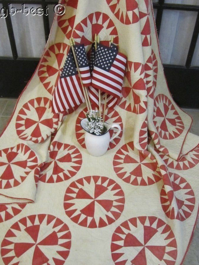 Patriotic Red! c 1890s Mariners Compass Antique QUILT the Patriot Collection