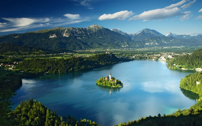 Download wallpapers Lake Bled, 4k, summer, forest, Slovenia, Europe