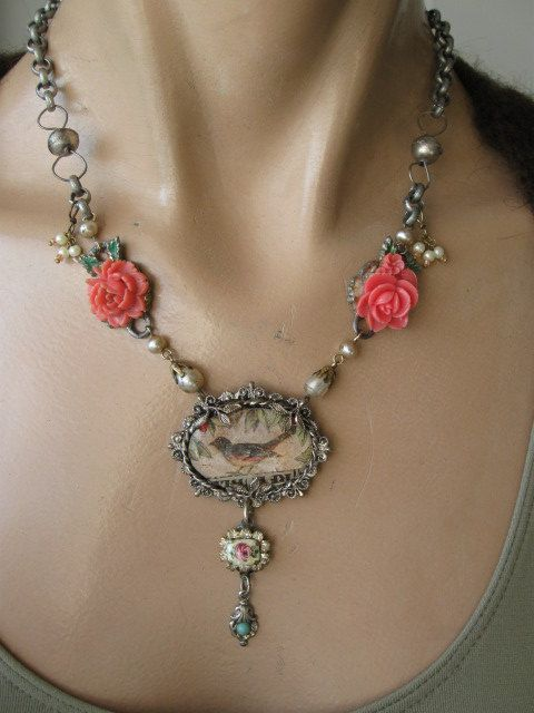Music In The Leaves vintage assemblage necklace by OhMyGypsySoul, $72.00