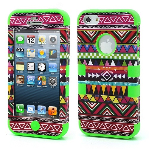 Wholesale 3-Piece Geometric Aztec Tribal Tribe Pattern High Impact iPhone 5 Hybrid Case Cover - Green - iPhone 5 Hard Cases
