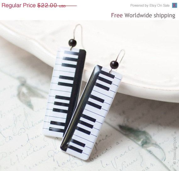 Piano key earrings  Music jewelry  E055 by BeautySpot on Etsy, $13.20