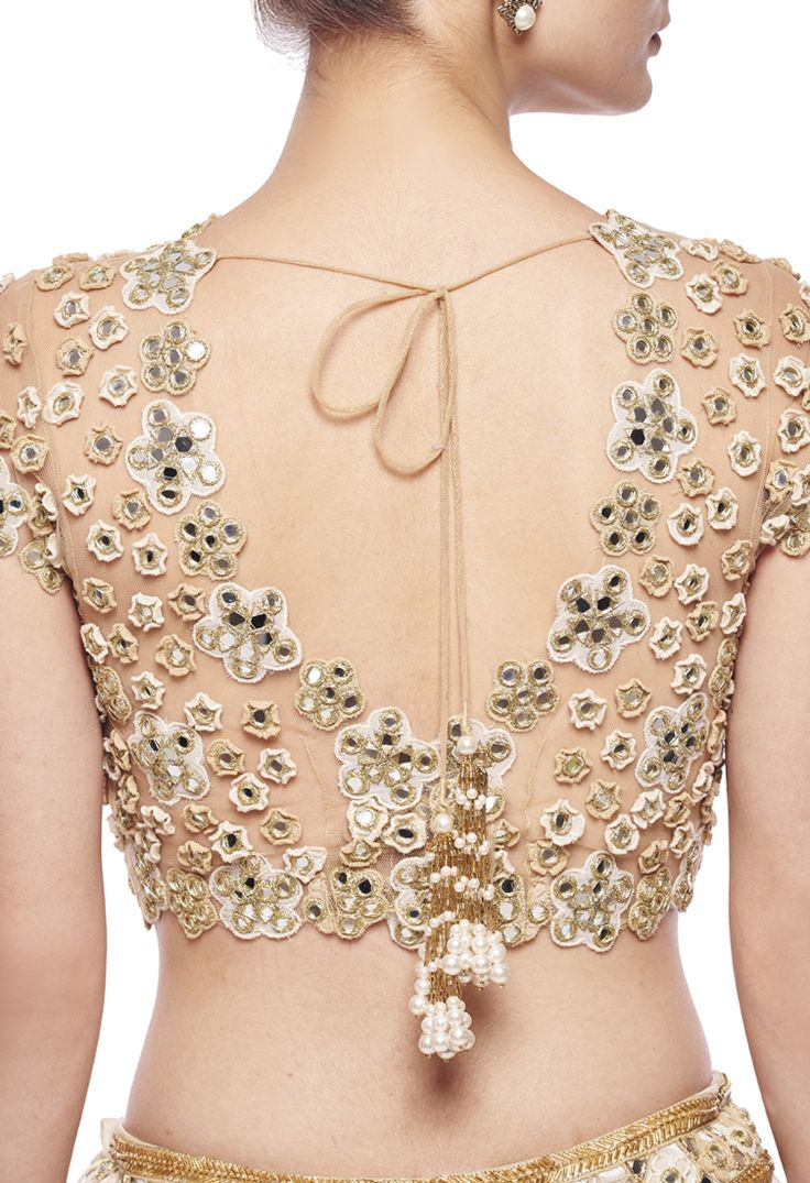 Lehenga blouse design in golden color and mirror work - Ivory Floral Mirror Embroidered Lehenga Set By Arpita Mehta Shop At Aza Saree Blouse Designsblouse