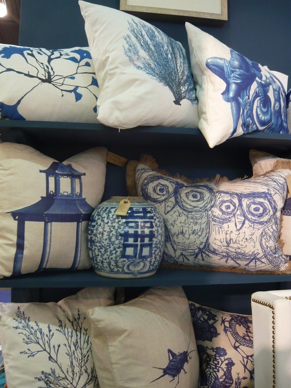 Blue and Chinoiserie-inspired designs are a huge trend as demonstrated by this pillow display at Design Legacy. These items are classics, but they are definitely having a resurgence in popularity.