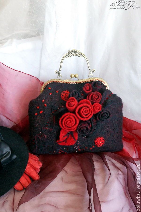 Купить Сумка валяная с фермуаром Красная роза...черная роза.... - сумочка с фермуаром, сумка женская