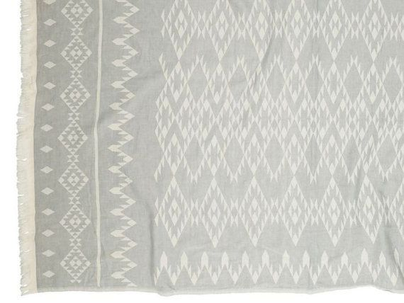 """Grey White Beach Towel Two-Sided   Aztec Tribal Beach Blanket Towel   Navajo Southwestern Organic Bath Towel   Hostess Student Gift Idea   ➳ 100% organic cotton ➳ Size: 90 x 160cm // 36"""" x 63""""  Must-have Trendy&Stylish two-sided organic dobby-weave 100% cotton towel can be used as:  ✪ Beach towel / blanket ✪ Bath towel / sheet ✪ Yoga towel / blanket ✪ Spa / Gym towel ✪ Baby blanket / mat ✪ Throw blanket ✪ Picnic blanket ✪ Decor ✪ and many other ways - the uses are endless!"""