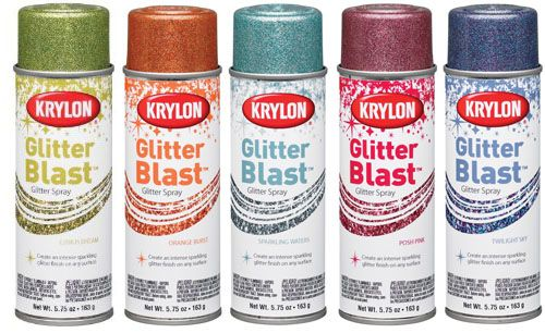 Krylon Glitter Blast. See, I always thought glitter spray would be so much easier to upcycle shoes, bags, vases, etc, etc. Easier than applying glitter in perfect layers with a sponge brush and there's tons of colors.