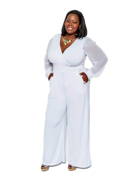 3d93fe93f56 Plus Size White Party Jumpsuits