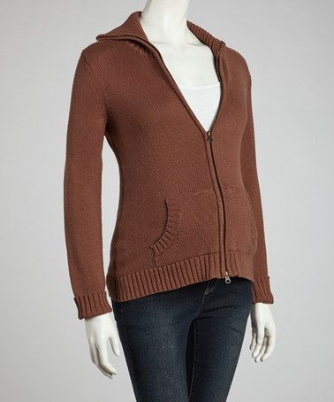Take a look at this Brown Maternity Zip-Up Sweater by Lilo Maternity on #zulily today!
