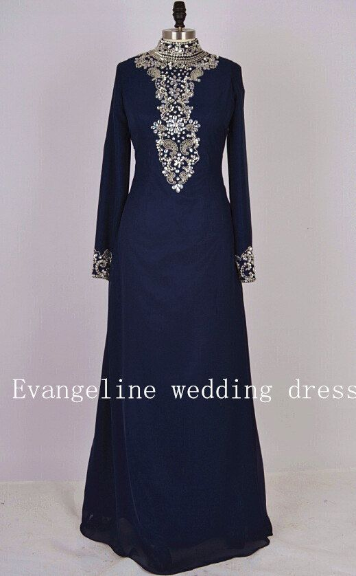 high-nack beaded pattern crystal long sleeve prom dress chiffon long evening dresses
