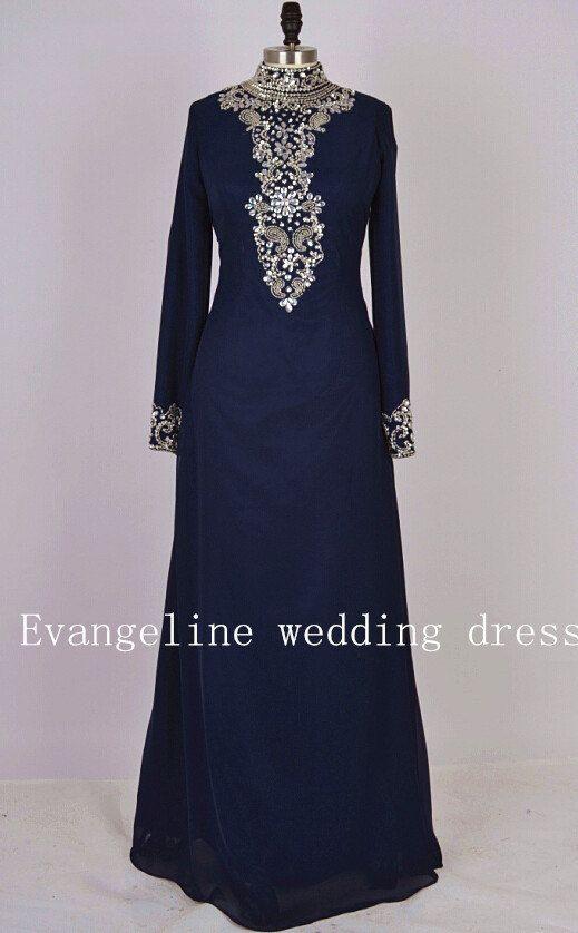high-nack beaded pattern crystal long sleeve prom dress chiffon long evening dresses