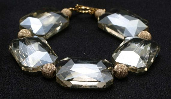Ivory Rectangular Crystal with Gold Plated by BeccsCreations, $18.00
