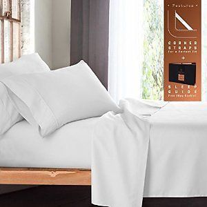 "King Size Bed Sheets Set White - Soft Luxury Best Quality 4-Piece Bed Set - Features Special Tight Fit Corner Straps On Extra Deep Pocket Fitted Sheets  Fun ""Better Sleep Guide"": Home & Kitchen"
