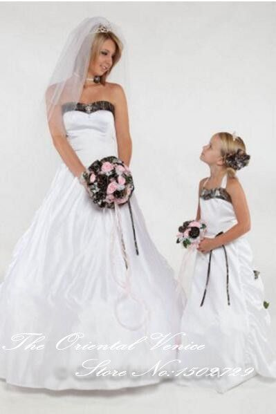 2017 Two Pieces Camo Wedding Dress with daughter Dress Sweetheart Lace-up Camouflage Mother and Daughter Dresses for Weddings