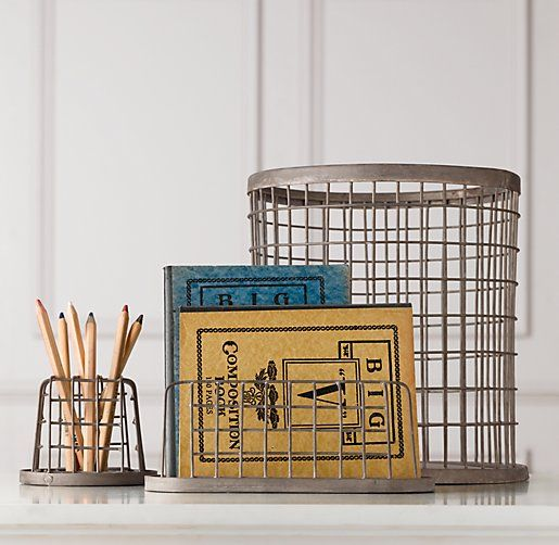 Industrial Desk Accessories - Trash Can | Desk Storage | Restoration Hardware Baby & Child