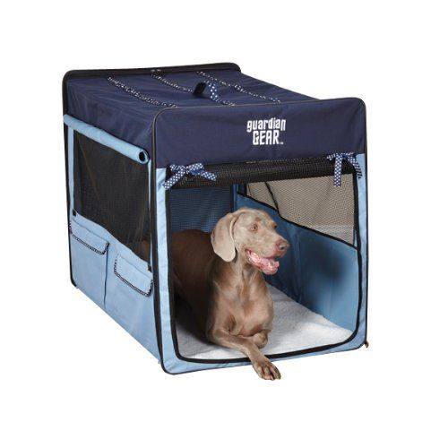 guardian gear polyester polka dot collapsible dog crate small blue http - Soft Dog Crates