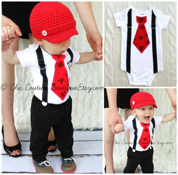 Mickey Mouse Birthday Tie and Suspender Bodysuit.  Baby Boy First Birthday Party Outfit Disney Style Clothing.  Valentine's Day Red Love on Etsy, $19.00
