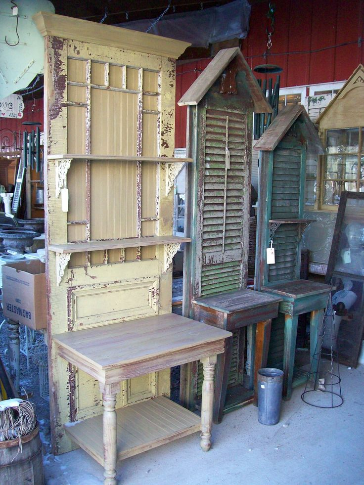 old doors and shutters repurposed