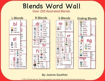 Create a print rich environment for your classroom with these 70 pages of illustrated blends. This phonics word wall product contains over 230 words covering 35 word blends as follows: Set 1: L-blends - bl, cl, fl, gl, pl, sl Set 2: R-blends - br, cr, dr, fr, gr, pr, tr Set 3: S-blends - sc, scr, shr, sk, sl, sm, sp, spr, st, str, sw Set 4: More blends - thr, tw and ending blends (ld, lf, lk, lm, lp, lt, ng, nd, mp) Each list in this product has words containing a particular blend.