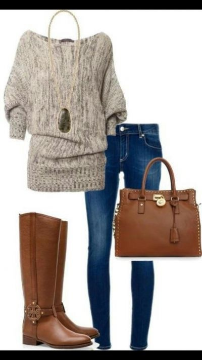 tory burch boots and flattering sweater. jeans that go perfect and necklace to top it off ;)