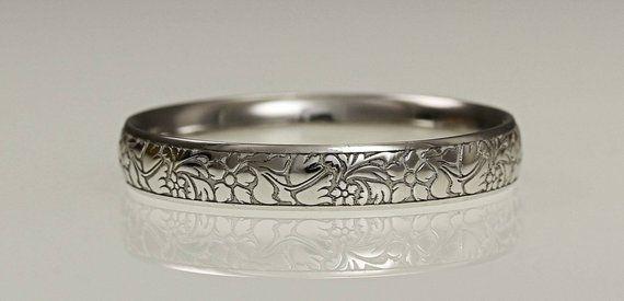 Platinum 3mm Wedding Ring Flower Engraved Ladies Wedding Band Ring Engagement Ring Birthday Present Hatton Garden London Jewellers In 2020 Wedding Ring Bands Womens Wedding Bands Engraved Wedding Rings