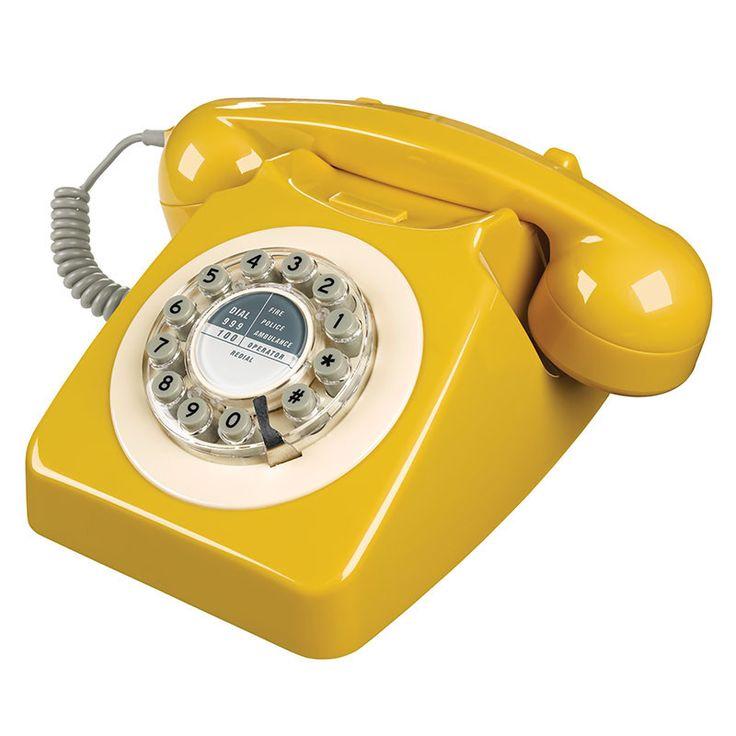 citiesocial – 60年代復古電話746 - 芥末黃
