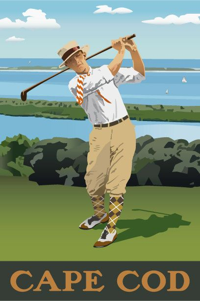Print of original artwork, Golf, Cape Cod, Vintage Sports Poster, 1920s, Golfer, Poster, summer house, vacation house on Etsy, $14.00