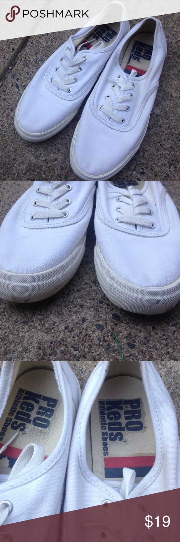 All white pro keds 8.5 I love these but they're kinda big on me. Little scuffing on  base of rubber sole. Could be thrown in washer. No ripping, no holes, great bottom. Keds Shoes Sneakers