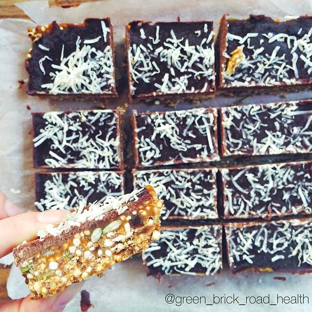 Peanut Butter Quinoa Puff slice made with Mayver's