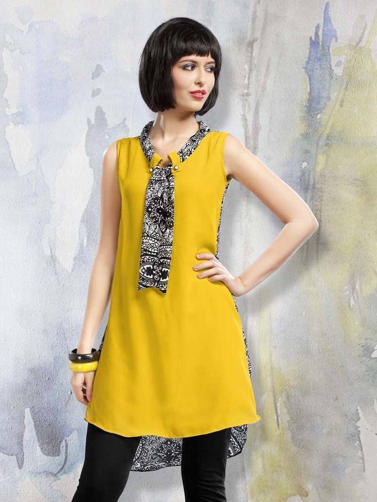 Yellow Polyester Designer Kurti