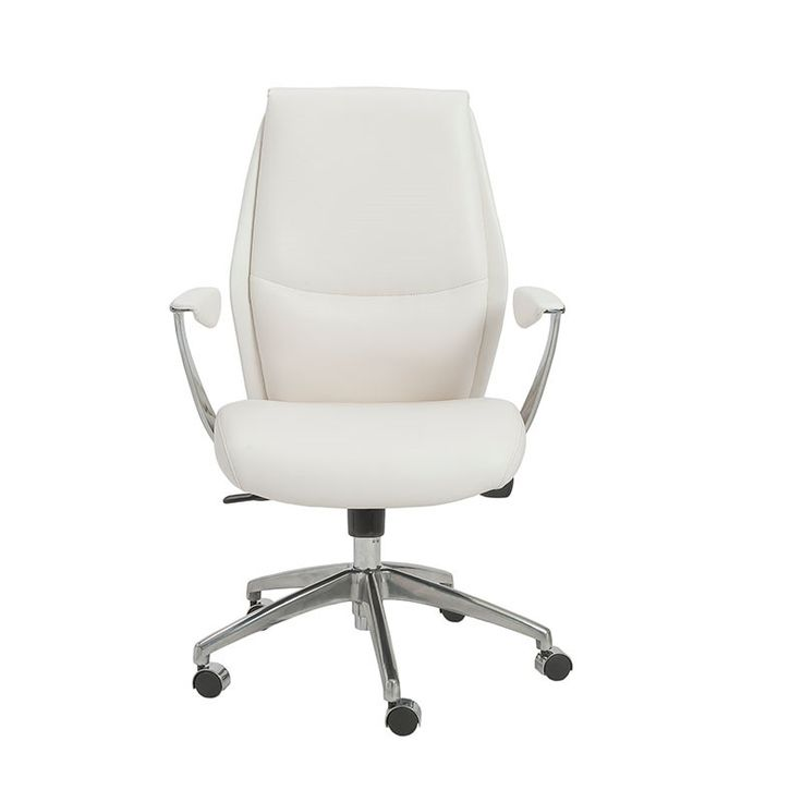 Crosby Modern White Office Chair With Polished Aluminum Accents