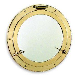Miroir hublot en laiton poli diamètre 37,3 cm