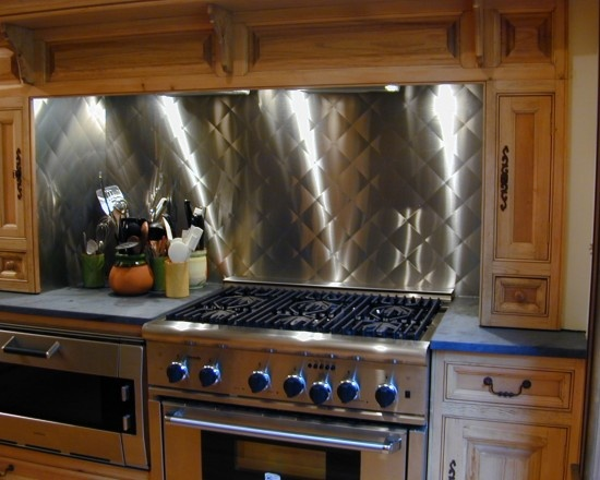 stainless steel backsplash with quilted pattern brooks