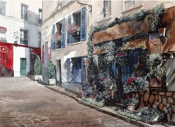 Архитектор-акварелист Paul Dmoch. Fleuriste Poulbot, Paris-Montmartre