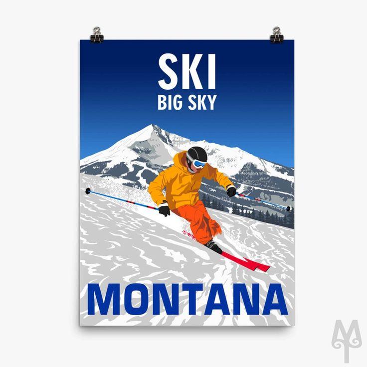 Ski Big Sky Montana Poster