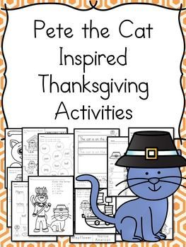 This is a fun, Pete the Cat inspired Thanksgiving activity pack for preschool/Kindergarten/First grade! These worksheets and activities include...Included in the complete lesson plans.Make a Cat cut/pasteMake a Turkey cut/pasteMake a Pilgrim (2) cut/pasteRead and color the Thanksgiving object.Connect the Dots TurkeyDo the turkey mazeCut out a turkey cutting skillsColor by letter ThanksgivingColor by sight word ThanksgivingColor by letter Pete the CatColor by sight word Pete the CatPete the…