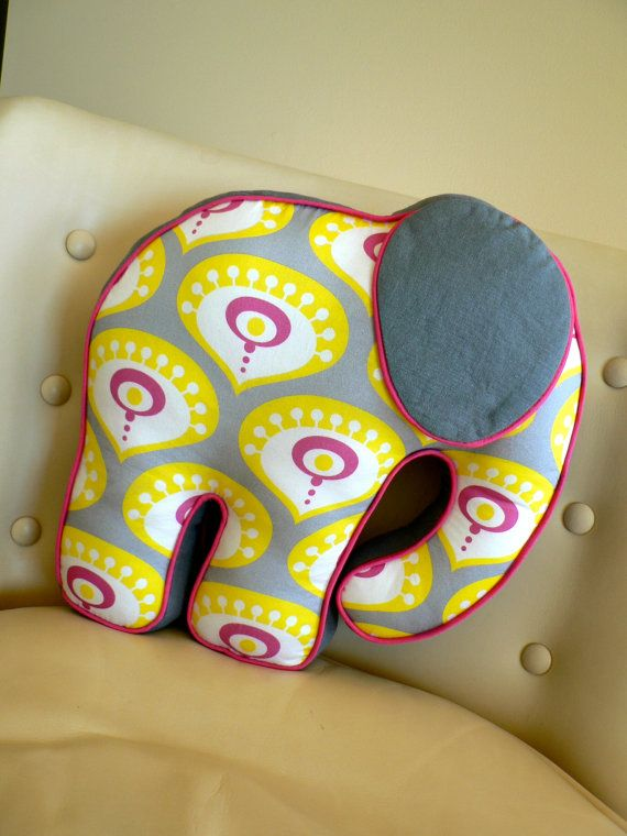 Elephant Pillow Nursery Toy Grey Yellow and Pink by CecilClyde, $57.00