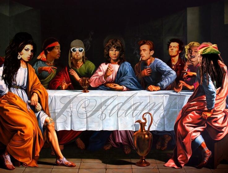 Rock n' Roll Reunion - Canvas print by JJ Adams - Amy Winehouse, Kurt Cobain, Jimi Hendrix, Jim Morrison, James Dean, Sid Vicious, Marilyn Monroe, Bob Marley - www.artrebellion.co.uk