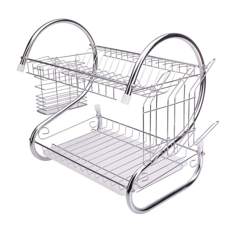 Silvertone Multifunctional S-shaped Dual-layer Bowls/Dishes/Chopsticks/Spoons Collection Shelf Dish Drainer