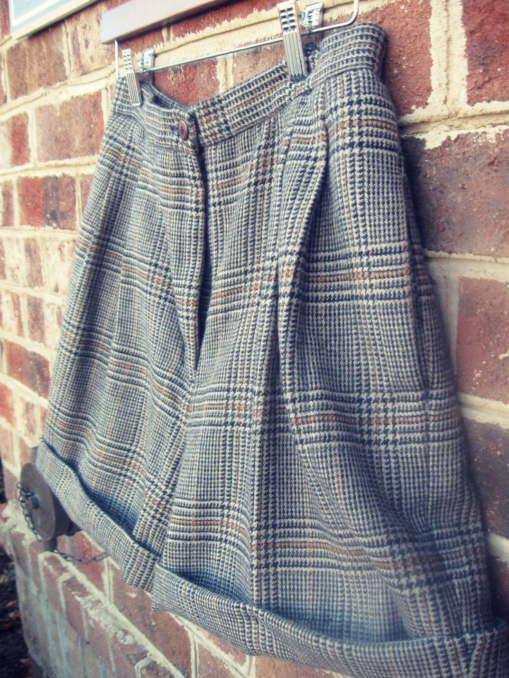 woolShorts2- wool pants to shorts DIY refashion this would b cute longer n with suspenders n a loose button up shirt