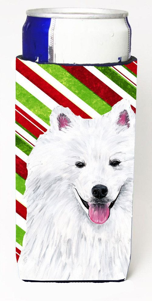 American Eskimo Candy Cane Holiday Christmas Ultra Beverage Insulators for slim cans SC9339MUK