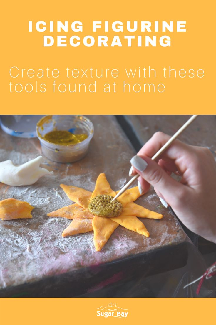 Here are 6 items found at home, which you can use to create texture on icing figurines:   1.Spatulas 2.Paintbrushes of all sizes 3.Straws 4.Toothpicks 5.Tweezers 6.Knives
