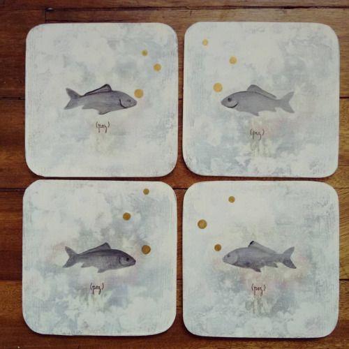 """ Pez "" set de 4 pisa vasos pieza única #Himallineishon #coasters #illustration #fish #handpainted #homedecor"